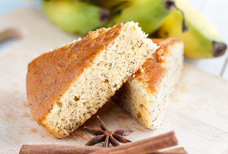 banana cake with banana background
