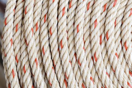 nylon: coil of nylon rope, closeup background image Stock Photo