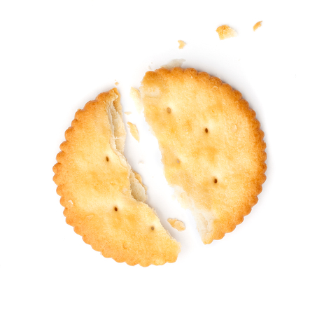 biscuit: crack biscuits on white background Stock Photo