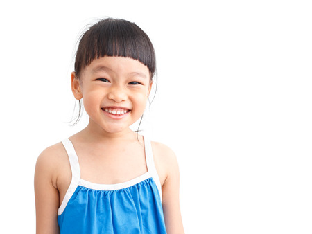 asian smile girl isolated white background