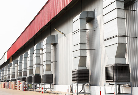 heat exchangers: evaporative cooler system in factory depot