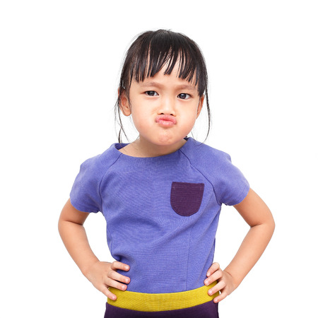 moody: moody asian little girl on white background