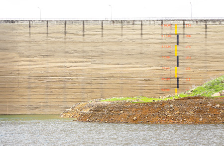 dried up: Scale measures the water level of dried up dam