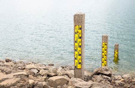 depth measurement: water level meter showing low levels after a period of drought