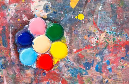 smears: Palette table smears paint color