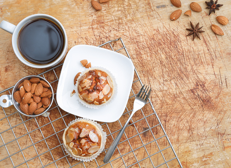 natural setting: Almond cup cakes in natural setting.