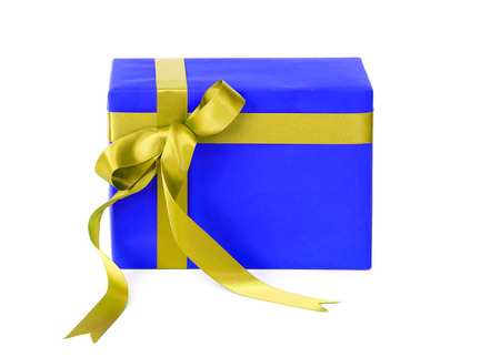 Blue color gift box with gold color bow  isolated on white background