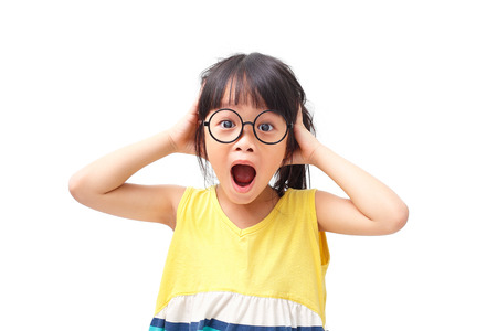 Asian girl with shock face