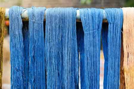 blue indigo dye silk thread