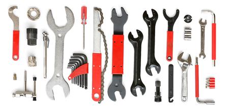 bicycle professional tool set isolated on white background Stock Photo