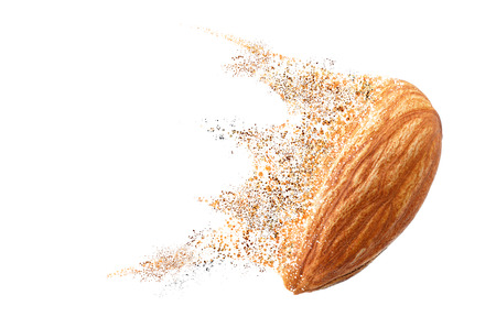 almond dispersion photo retouch isolated on white background