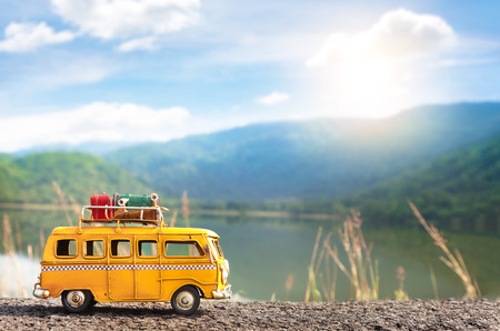 Nakon nayok, Thailand - August 15,2017 : Miniature yellow van at the Houi nong preu reservoir