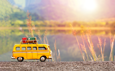 Miniature yellow van 스톡 콘텐츠