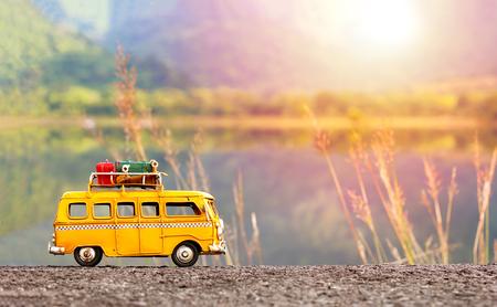 Miniature yellow van Foto de archivo