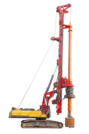 Bored Pile machine isolated over white background with clipping path