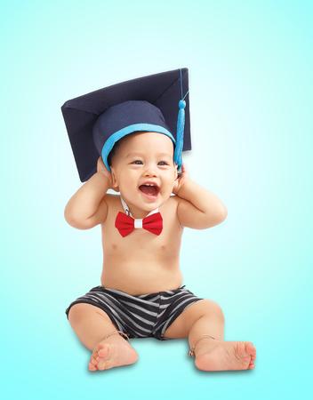 Education graduation Asian baby boy isolated.
