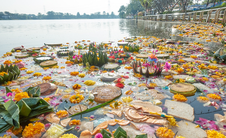 Gabage in Thailand river after Loy Kratong night festival Stock Photo