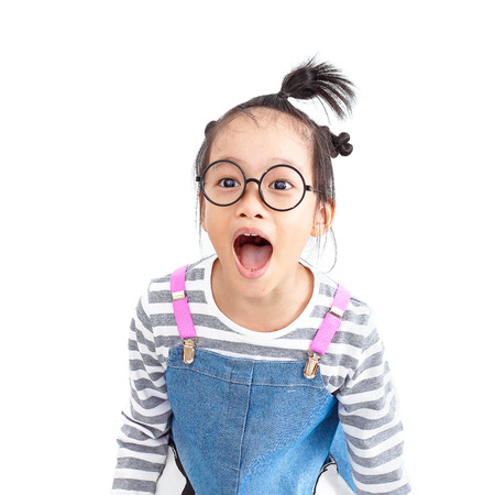 chinese naughty girl shouting loud with surprise face isolated on white background 写真素材