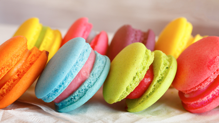 Sweet and colourful french macaroons in vintage warm tone Stock Photo