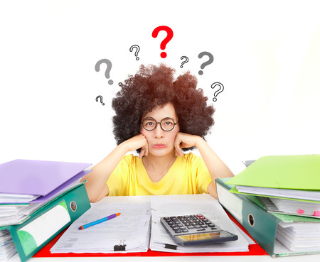Woman  with afro hair style sit with documents and boring work. Along with the questions mark over the head.