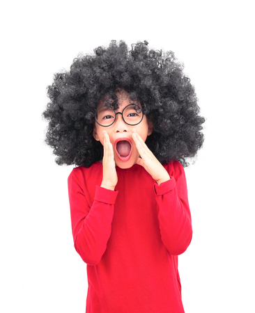 Portrait afro head girl shouting isolated on white background