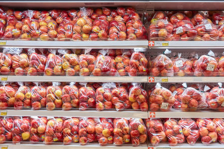 Bangkok, Thailand - March 23,2019 :  Red apple shelf at Makro Supermarket