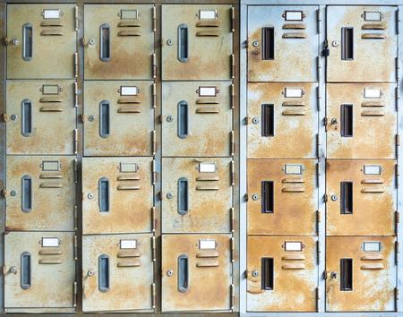 A row of old rust  metal school lockers