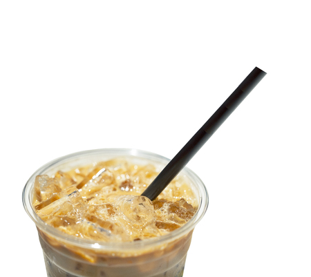 Ice coffee top closeup isolated on white background. Clipping path Stock Photo