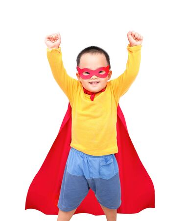 Little boy wear super  hero costume. Isolated on white background.