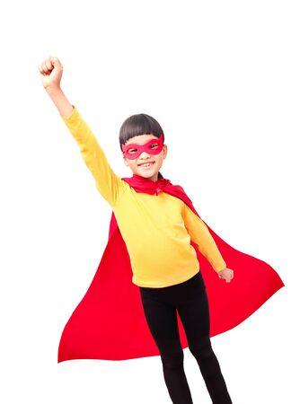 Little girl wear super  hero costume. Isolated on white background. Stockfoto