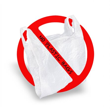 Plastic bag in forbidden sign. Isolated white background. Stok Fotoğraf