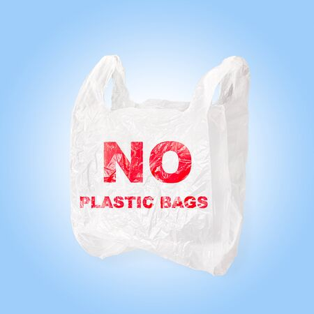 Plastic bag with No Plastic bags screen printing. Isolated on blue background