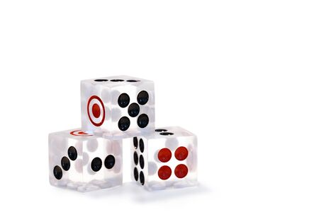 Transparent dice isolated on white background