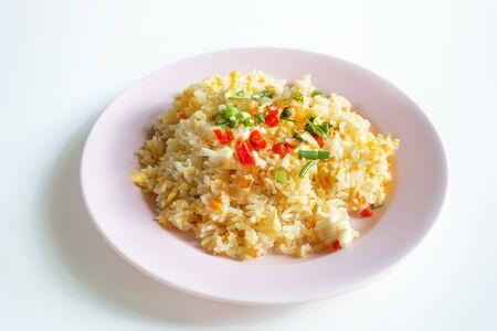 fried rice dish isolated on white background