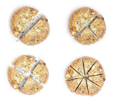 Oatmeal Cookies Dividing proportion in various piece. Isolated on white background.