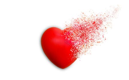Red heart dispersion photo retouch isolated on white background Stock Photo