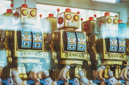 vintage robot tin toy in the showcase