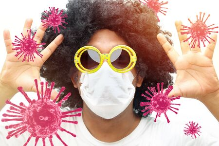A man afro hair style is wearing a fabric mask with virus 3D render graphic, Isolated from white background.