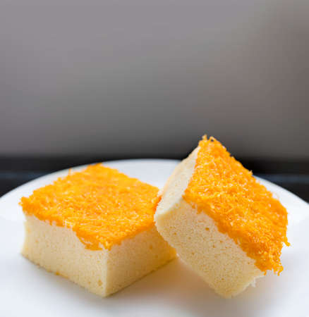 Foi Thong Cake is a cake decorated with Foi Thong dessert which is a Thai dessert.