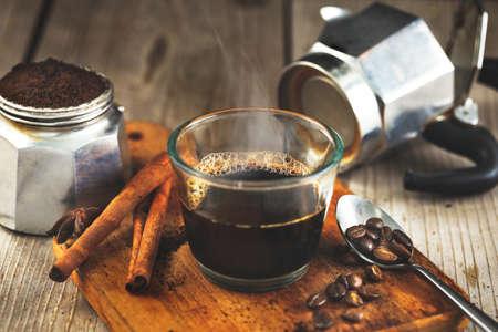 Espresso coffee brewing from Moka Pot
