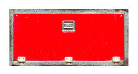The red toolbox has a scratch on it. Stockfoto
