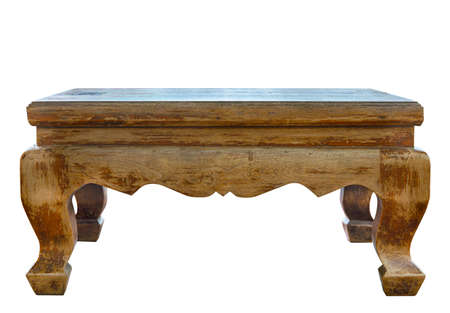 Antique wooden desk craft from teak wood . Isolated in white background.