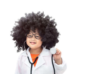 Boy with afro hair style wearing a doctor uniform And have a detector. Isolated on white background
