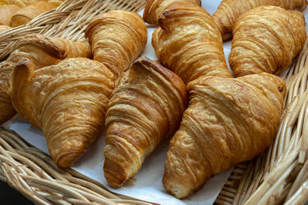 Home made Croissant in a basket