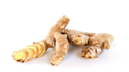 Ginger rhizomes isolated on white background. Stockfoto