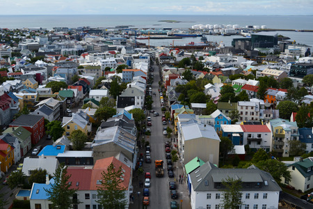 View of Reykjavic, Iceland from Hallgr�mskirkja Stock Photo - 87324043