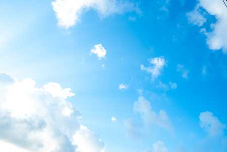 Beautiful blue sky with white clouds in the afternoon. Stock Photo