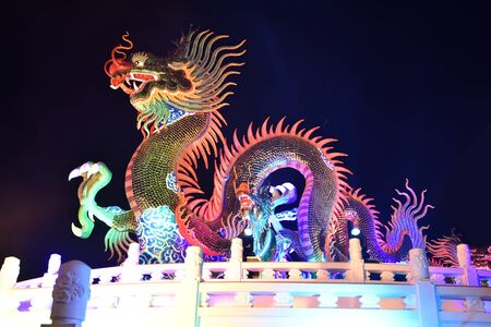 Nakhon sawan cityThailand Tourists come to visit the Chinese New Year Lantern Festival, Dragon Chinese New Year, Chinese Dragon Lantern