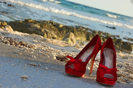 cinderella shoes: The Red Shoes which await the arrival of the princess who will wear