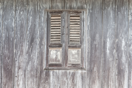 Old wood window and wall Stock Photo